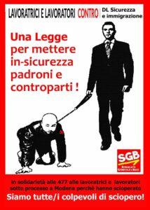 Read more about the article Siamo tutte/i colpevoli di sciopero! ABOLIRE LA LEGGE sulla SICUREZZA e IMMIGRAZIONE